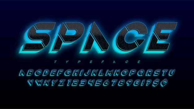 ステンシルの未来的なsfアルファベット、光る文字