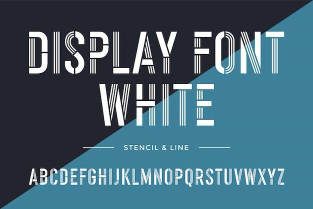 스텐실 라인 글꼴 다채로운 압축 된 알파벳 및 글꼴