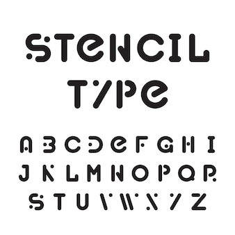 Stencil typeface, black modular round alphabet