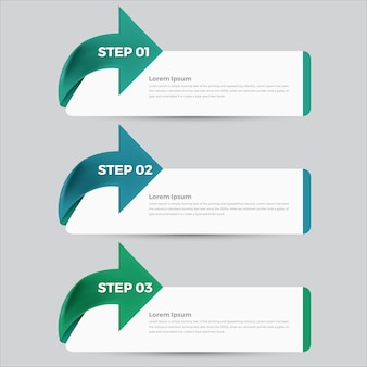 Step 3 info-graphic vector banner template illustration