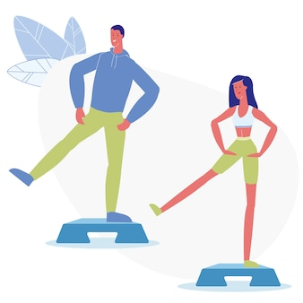 Step aerobic classes flat vector illustration