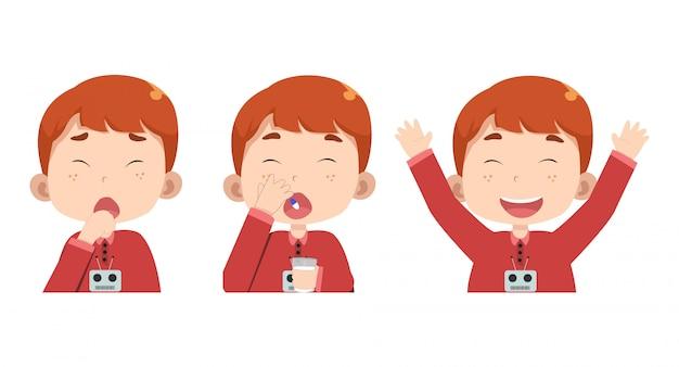 의료 약을 복용 단계별 어린이 캐릭터