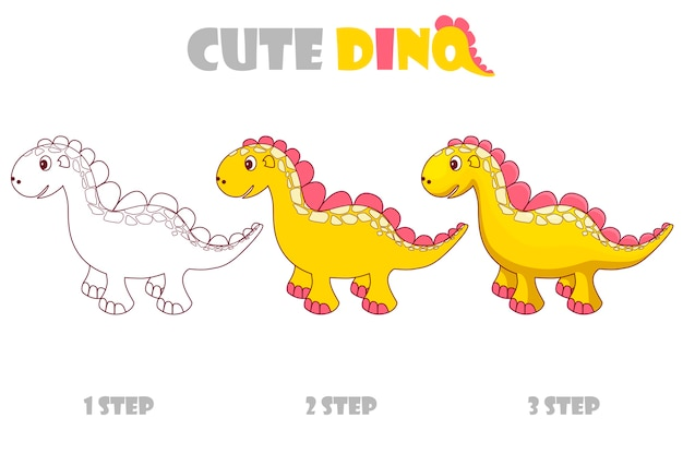 Step by step coloring girly orange cute dino.