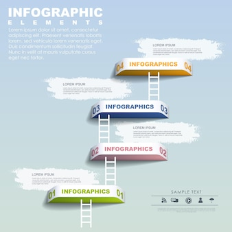 Step by step concept infographic elements template over blue