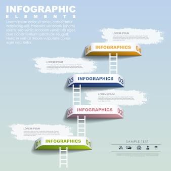 파란색을 통해 단계별 개념 infographic 요소 템플릿