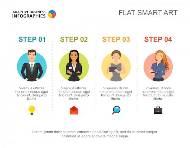 Modello di diapositiva guida passo passo. grafico. concept creativo per infografica, report.