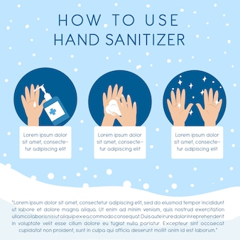 Step by step how to use hand sanitizer instructions to clean hand