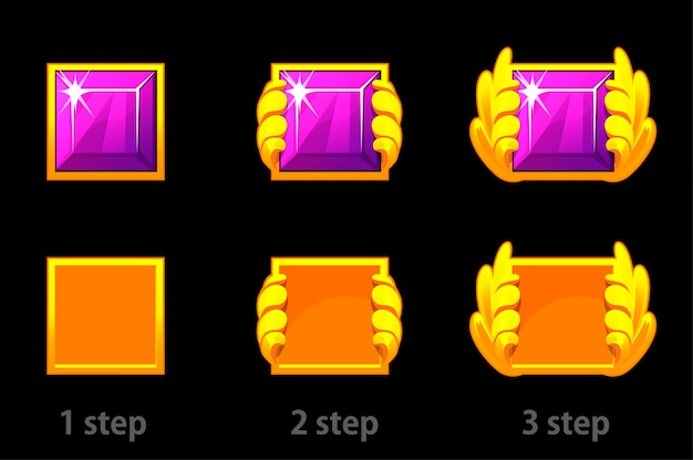 Step by step improvement of square gem and gold template. set of bright purple diamonds progress.