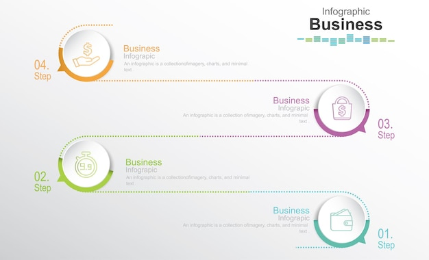Step by step infographics template 4 steps options or levels infographics concept