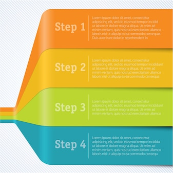 Step by step rainbow ribbon  infographics template