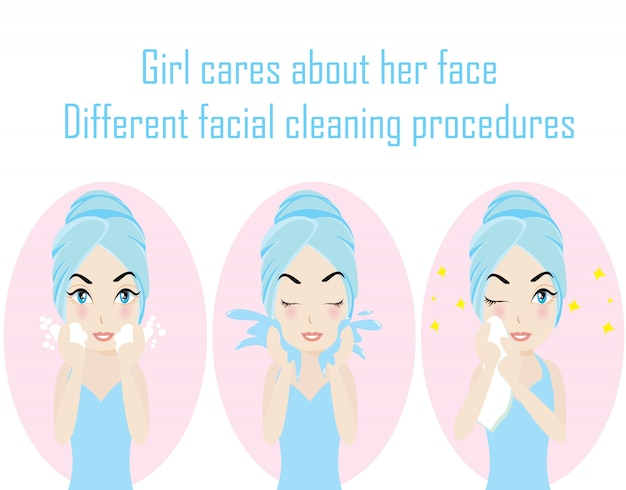 Step different facial cleaning procedures