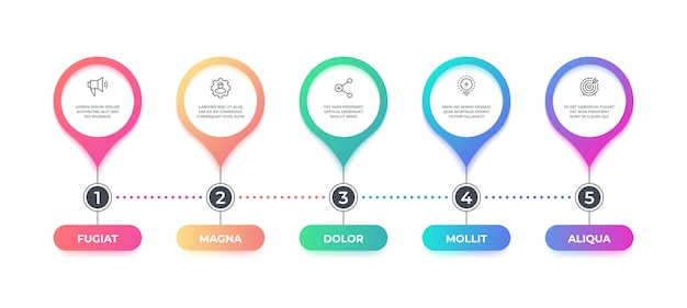 Шаг инфографики. варианты временной шкалы блок-схемы, бизнес-графический элемент, инфографическая диаграмма макета рабочего процесса. шаг графический баннер концепция