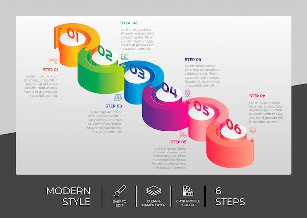 Шаг инфографики с 6 вариантами и 3d стиле