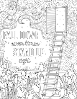 Step ladder leading to an opened door with stars inside beside a field of flowers colorless line