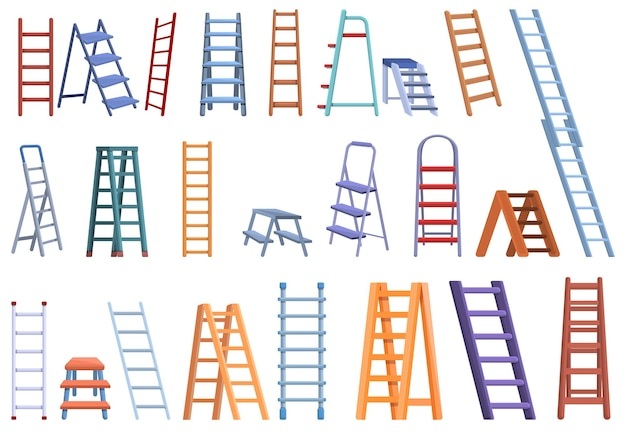 Step ladder set. cartoon set of step ladder