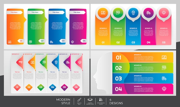 Step and options infographic bundle set with modern style and colorful concept