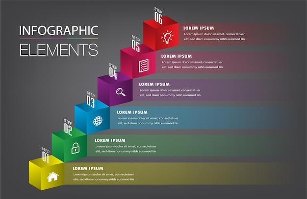 Шаг вперед бизнес успешной концепции инфографики вектор Premium векторы