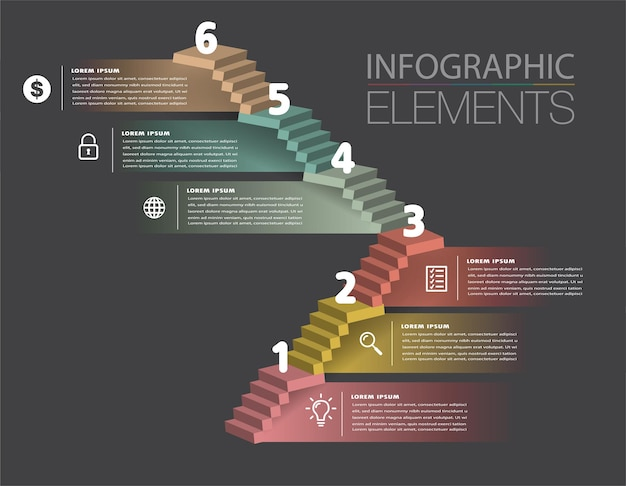 Шаг вперед бизнес успешной концепции лестницы инфографики вектор