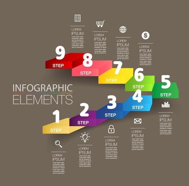비즈니스 성공적인 개념 계단 infographic 벡터의 단계