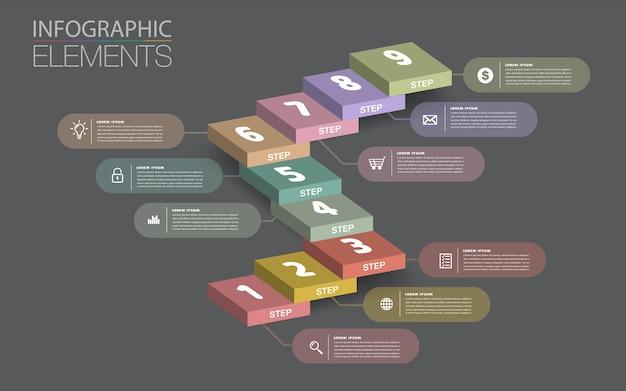 비즈니스 성공적인 개념 계단 인포 그래픽 벡터의 단계