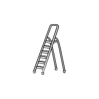 脚立手描きのアウトライン落書きアイコン。白い背景で隔離の印刷、ウェブ、モバイル、インフォグラフィックの建設ステップはしごのベクトルスケッチイラスト。