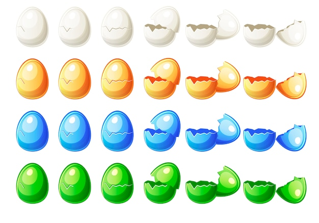 Steps animations different colours broken egg