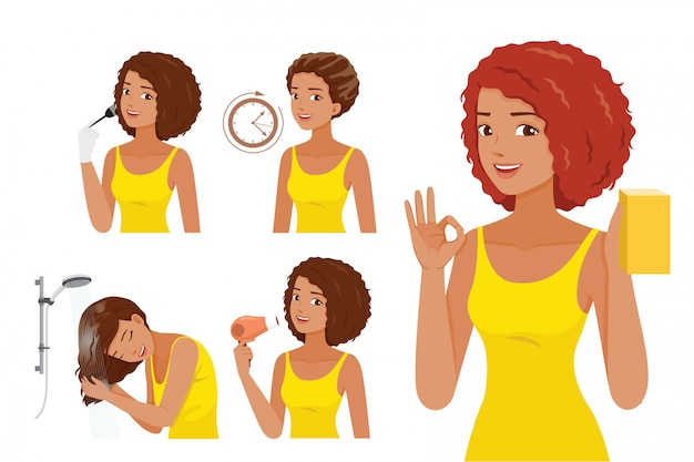 Steps of black skin woman coloring her own hair, hair coloring process