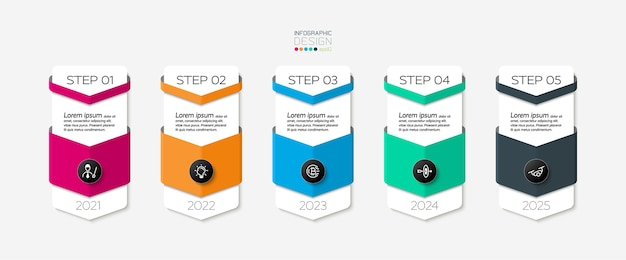 Steps of circle infographic template