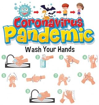 Steps to clean hands. coronavirus illustration