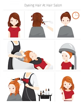 Steps to dyeing hair of woman at hair salon