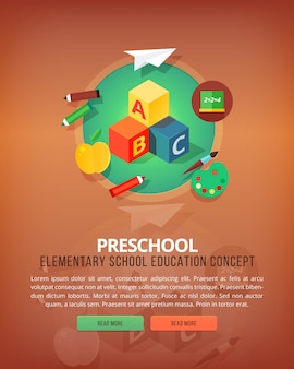 Steps of educational process. types of knowledge resources. preschool. basic and elementary subject. education and science vertical layout concepts.  modern style.