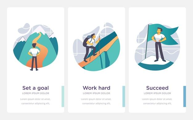 성공을 위한 단계. 비즈니스와 삶의 업적과 성공 개념입니다. 벡터 일러스트 레이 션