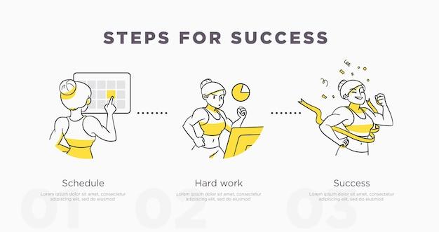 Шаги к успеху. спорт и жизненные достижения и концепция успеха. векторная иллюстрация