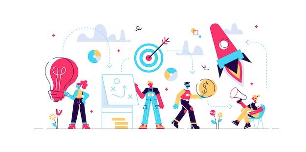 Шаги для успешного запуска, разработка стратегии успешного бизнеса. концепция развития карьеры, запуск бизнеса, мотивация, путь к достижению цели, ракета вверх, иллюстрация.