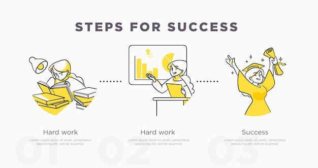 성공을 위한 단계. 연구 및 삶의 성과와 성공 개념입니다. 벡터 일러스트 레이 션