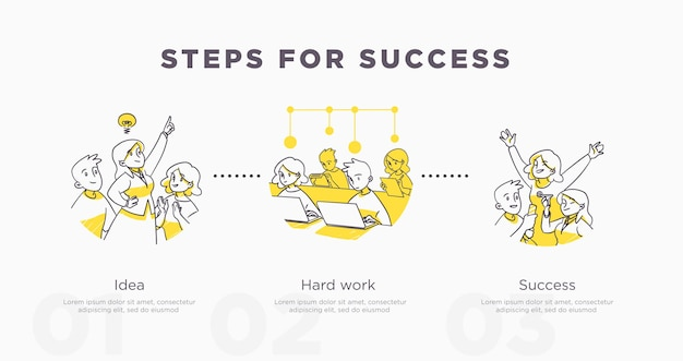 Шаги к успеху. работа в команде и жизненные достижения и концепция успеха. векторная иллюстрация