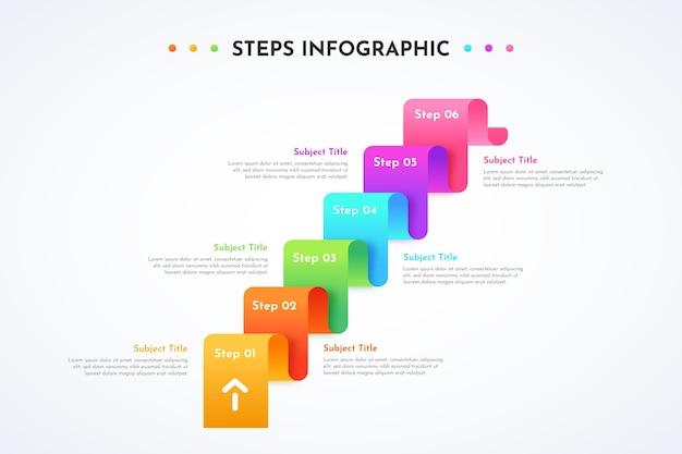 Modello di progettazione infografica gradiente di passaggi