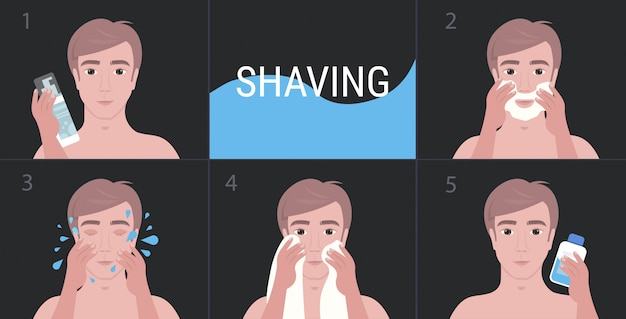 Steps handsome man shaving with foam and cleaning face skin care concept portrait