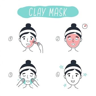 Steps how to apply facial cosmetic clay mask. line   elements on a white background.