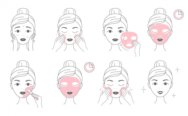 Steps how to apply facial cosmetic mask and clay mask.