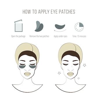 Шаги, как применять глазные пятна. косметическая маска для глаз. векторные иллюстрации.