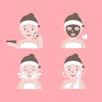 フェイシャルマスクを適用する手順。顔のマスキングのステップを持つ女性。