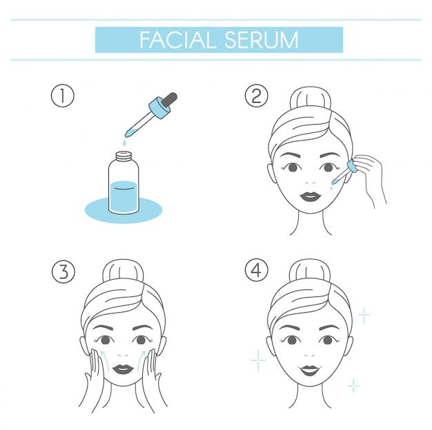 顔の血清を適用する方法の手順。ラインでフェイシャルマッサージを作る若い女性。