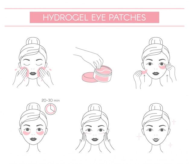 Шаги, как применить гидрогелевые глазные пластыри. Premium векторы