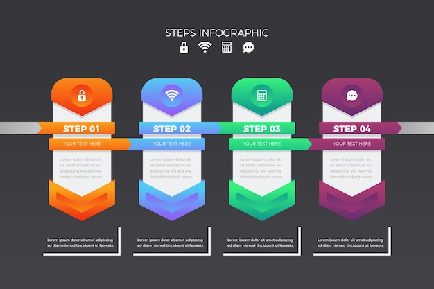 Steps infographic collection design