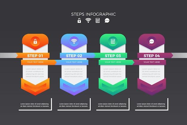 단계 infographic 컬렉션 디자인