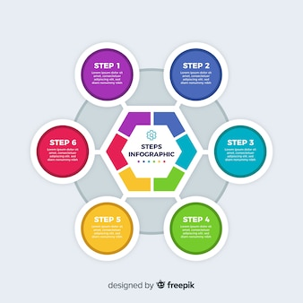 Steps infographic with colorful shapes
