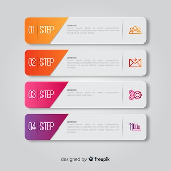 Steps infographic with slide shapes