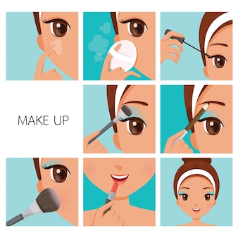 Steps to make up for tanned skin woman