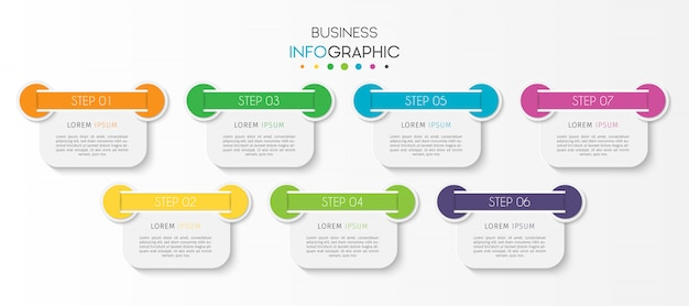 Steps or options timeline chart infographic element